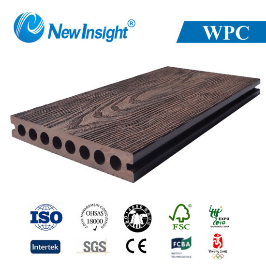 150X22mm 3D Online-Embossing Color Mixed Wood Plastic Composite WPC Decking