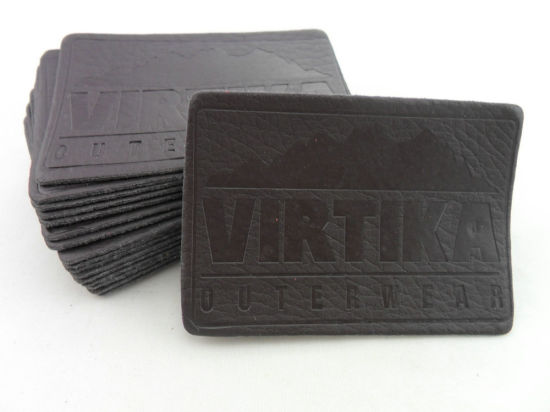 Brown Garment Custom Embossed Leather Patch pictures & photos