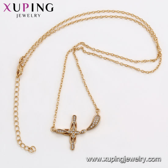 44542 Fashion Gold Plated CZ Cross Black Choker Necklace pictures & photos