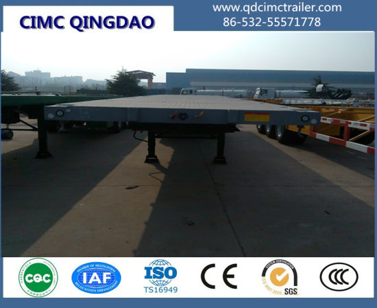Cimc Tri-Axle 40FT Flatbed Truck Semi Trailer with 3 BPW Axles for Tanzania pictures & photos