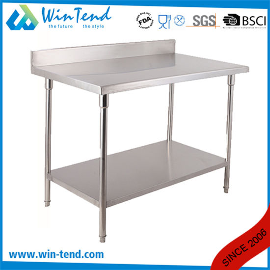 Industrial Stainless Steel Adjustable Round Tube Hotel Buffet Worktable with Reinforcing Bar pictures & photos