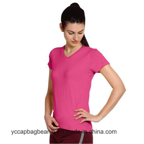 No Label Printing Women V Neck Blank Dri Fit T-Shirts pictures & photos