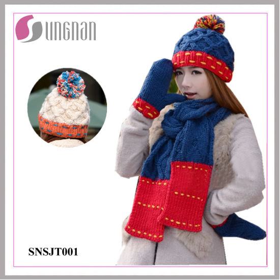 7caeb2ba180d3 China Winter Warm Wool Hat Scarves Gloves Three-Piece Set - China ...