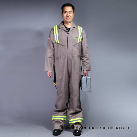100% Cotton Zip Front Long Sleeve Safety Workwear Uniform (BLY1003)