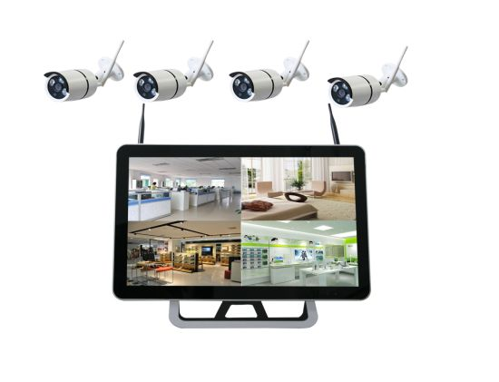 Toesee Brand 4CH Wireless WiFi CCTV Security Surveillance IP Camera Kit  with 15 Inches LED Monitor All in One NVR