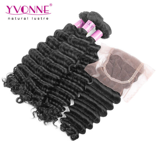 100% Human Hair Weave Brazilian Deep Wave with Closure pictures & photos