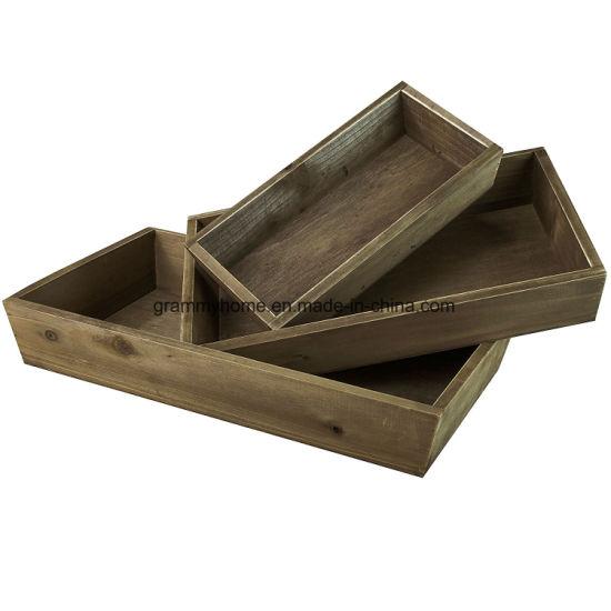 Rustic Wood Nesting Trays, 3 Piece Serving Butler Tray Set, Dark Brown
