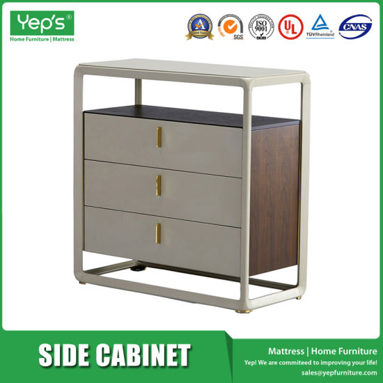 3 Drawers Side Cabinet In Metal Frame And Microfiber For Living Room