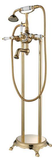 Floor-Standing Three Function Bathtub Shower Mixer Faucet System Set