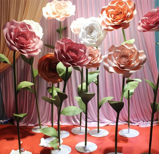 China Outdoor Wedding Large Flowers Red Rose Background Wall Window ...