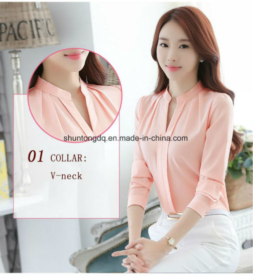 472e3697099fcc ... Spring Autumn Women Tops Long Sleeve Casual Chiffon Blouse Female V-Neck  Work Wear Solid ...