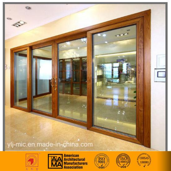 China Aluminum Glass Sliding Door Wood Grain Style China Sliding