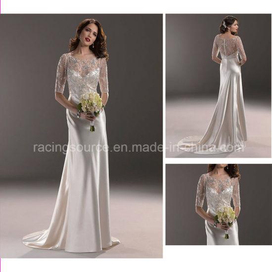 China Elegant Satin Short Sleeve Embroidary Wedding Gown Bridal