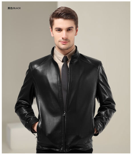 ea9ff8fd0 Plus Size Fashion Black Men Tight Genuine Leather Jacket