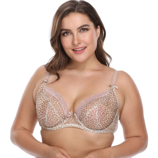 Fashion Unlined Leopard Print Underwire Breathable Plus Size Bra
