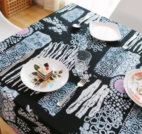 Mediterranean Nationality style Sequin Cotton Linen Art Table Cloth
