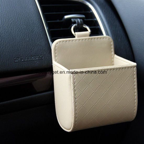 Car Auto Seat Back Interior Air Vent Cell Phone Holder Pouch Bag Box Tidy Storage Coin Bag Case Organizer with Hook Esg10638
