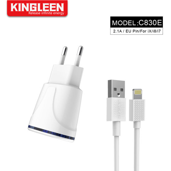 iPhone 8 Charger Set: 5W 2.1A Adapter Lightning to USB Cable Kit (1 Wall Charger + 1 USB Cable