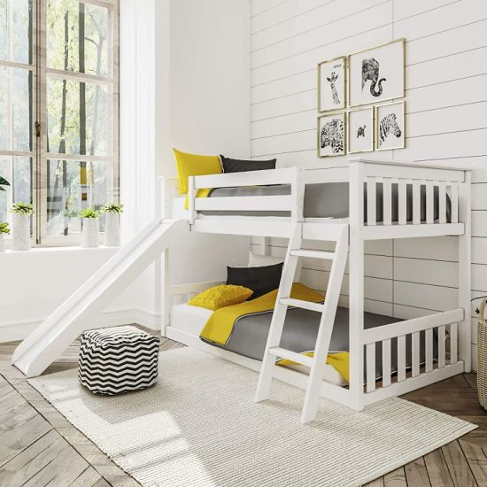 Low Bunk Beds for Kids and Toddlers Twin Bunk Beds with Slide