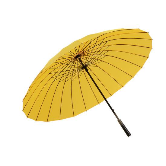 24 Bone Leather Handle Golf Umbrella Custom Logo Increase Wind - Resistant Pure Color Golf Commercial Advertising Umbrella