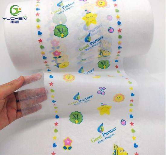 OEM Color and Printed Textile Back Sheet PE Film Laminated Nonwoven for Baby Diaper
