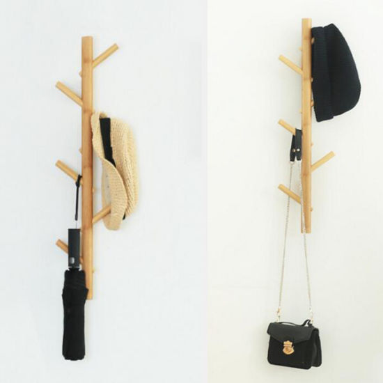 Wall Mounted Coat Rackbamboo Modern Tree Hat Rack with Six Hooks pictures & photos