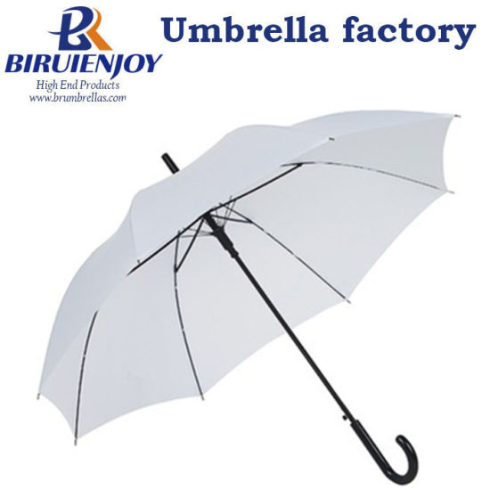 "Basic Promotional Gift White Walking Straight Umbrella for Lady 24"""