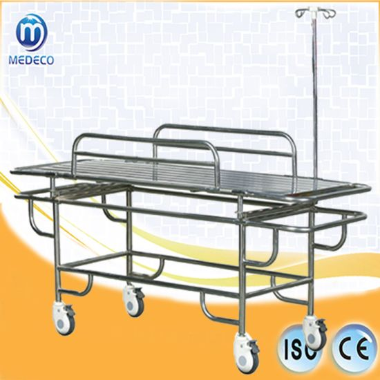Medical Equipment Stainless Steel Stretcher Trolley with 4 Small Wheels pictures & photos