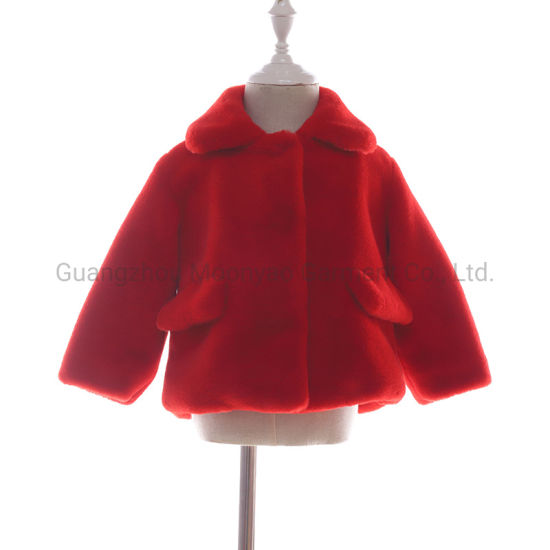 3 Color Luxury Baby Faux Fur Short Jacket for Children Girl Clothes Winter Wear