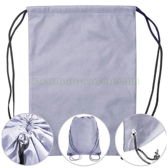 Reusable Shopping Non Woven Drawstring Bag 31# Light Purple