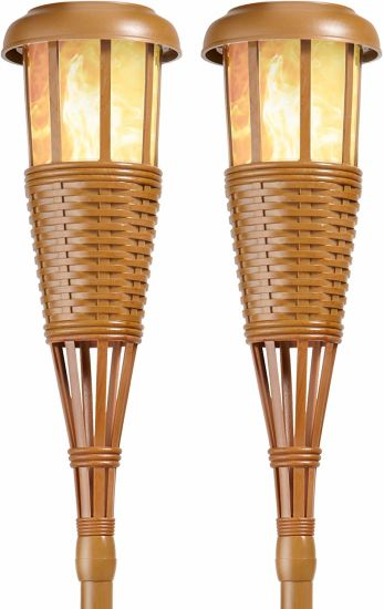 Solar Bamboo Tiki Torch Lamp Garden Landscape Stake Light, Powered Flickering Flame Effect LED Outdoor Island Torches
