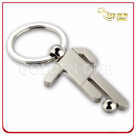 Football Player Award Nickel Plated Metal Key Ring