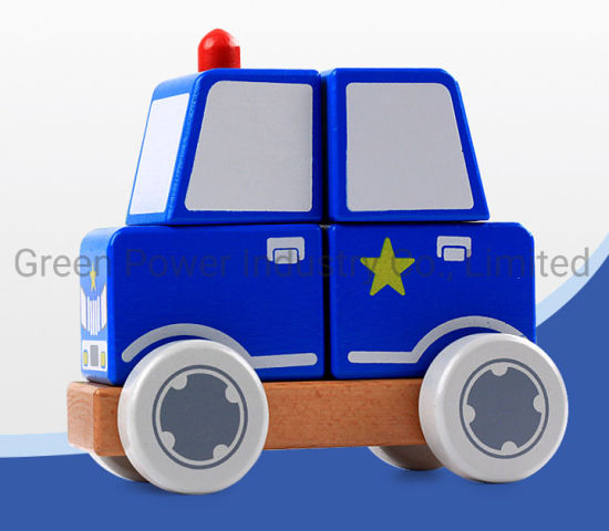 Hot Sale Wooden Blocks Car Police Car Toys pictures & photos