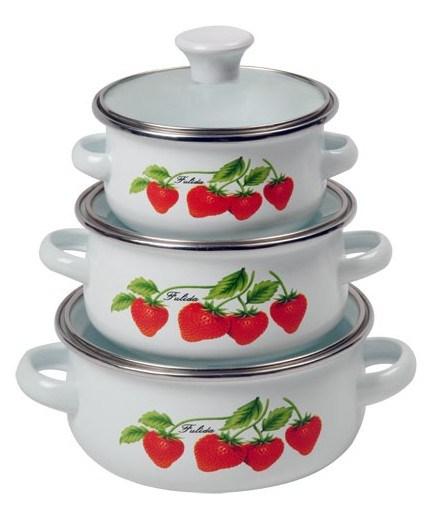 12-14-16cm Enamel Mini Pot Carbon Steel Cookware Set Casserole Set with Glass Lid