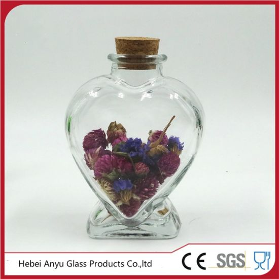 China Wholesale Heart Shaped Glass Bottle With Cork China Glass