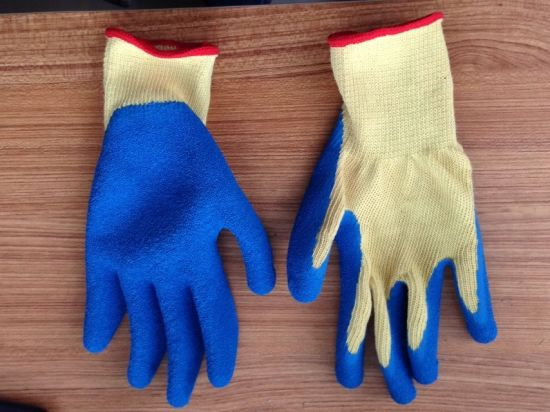 High Quality Polycotton Liner Latex Coated Safety Hand Gloves pictures & photos