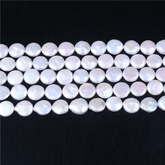 "15mm Natural Freshwater Pearl Coin Shape Loose Beads Strand 15"" Jewelry Making pictures & photos"