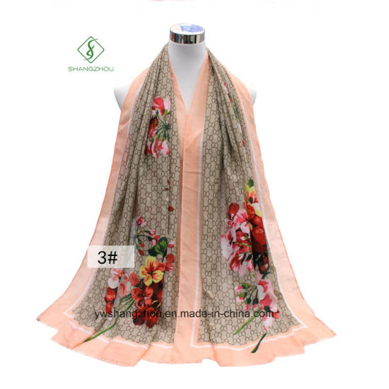 Fashion Lady Scarf Geranium Printed Satin Silk Shawl pictures & photos