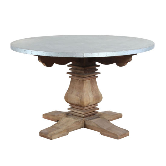 China Zinc Metal Covered Round Outdoor Dining Table
