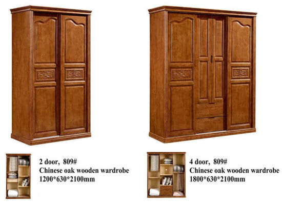 High Quality Chinese Oak Wood Furniture, Kd Furniture, Wardrobe (602) pictures & photos