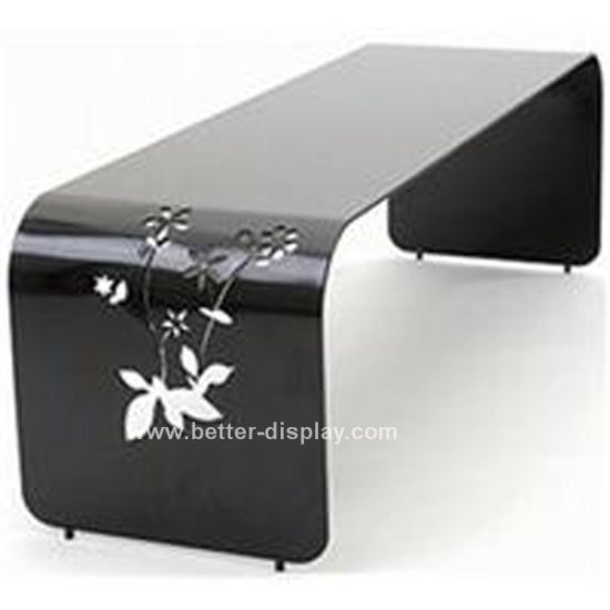 Custom Acrylic Black Hand Carved Coffee Table (BTR-Q1013)
