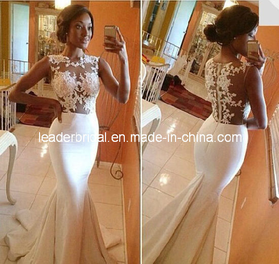 Fashion Mermaid Bridal Dresses Sheer Lace Wedding Dress Gown H1618