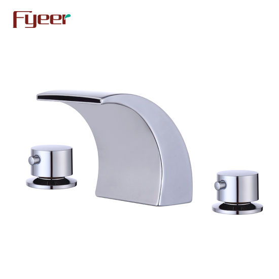 Fyeer Sanitary Ware Double Handle Bathroom Waterfall Spout Basin Mixer pictures & photos