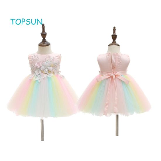 Little Infant Baby Clothes Girl Dress with Flower Lace Party Wedding Dresses for 2-11 Years pictures & photos