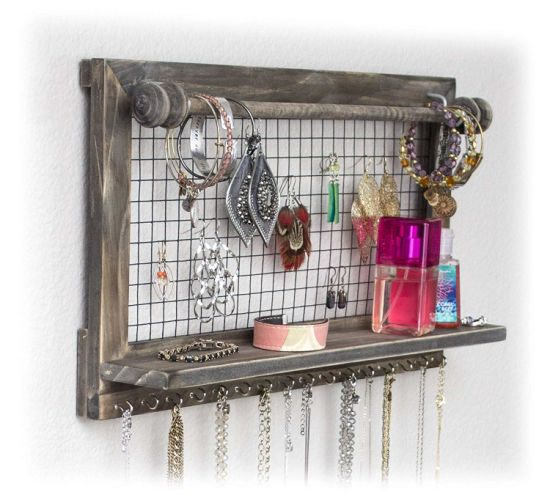 Jewelry Organizer with Bracelet Rod Wall Mounted L Wooden Wall Mount Holder