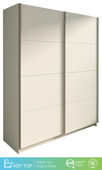 Cabinets Customized MDF Melamine Surface Sliding 2 Door White Wardrobe