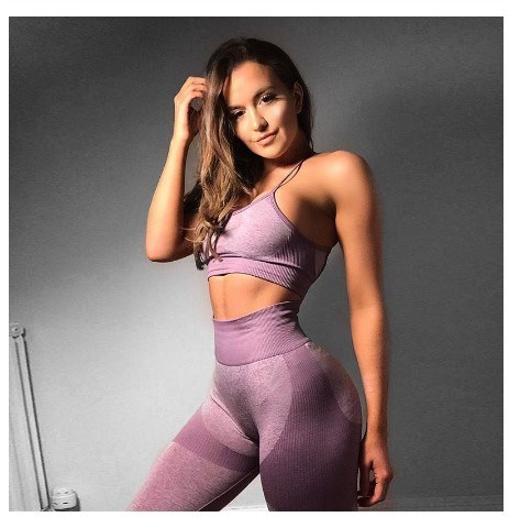 New Gym 2 Piece Set Sport Bra and Pants Clothing Fitness Leggings Track Suits Women Summer Clothes Fashion Apparel Wear