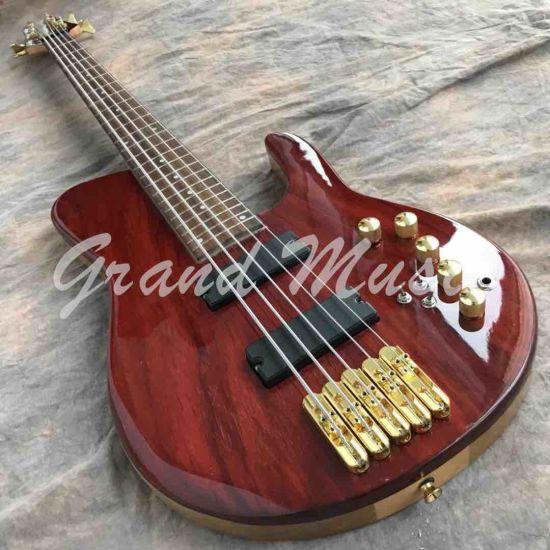 Custom Grand Neck Through Body Maple with Elm 5 Strings Bass Guitar