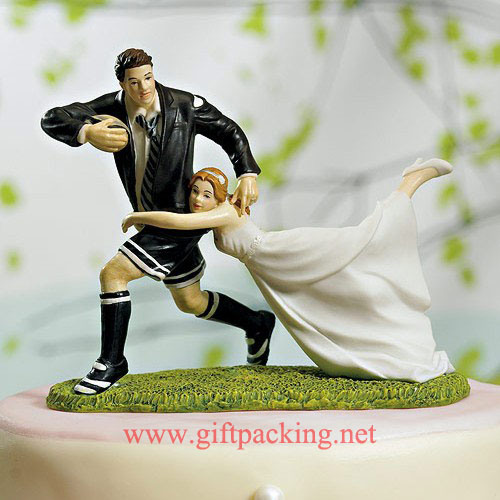 """""""a Love Match"""" Rugby Couple Resin Figurines"""