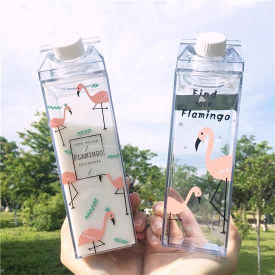 500ml Mike Box Square Shape Fashion Plastic Portable Water Bottles with Custom
